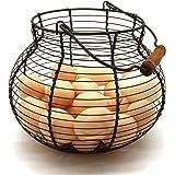 CVHOMEDECO. Antique Wire Egg Basket with Wood Handle Primitives Vintage Gathering Basket. Rusty