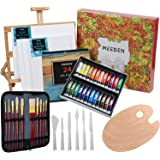 MEEDEN 46-Piece Oil Painting Set with Beech Wood Table Easel, 12MLX24 Oil Paint Tubes and All The Additional Supplies, Perfec