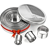 Round Cookie Biscuit Cutter Set, 12 Graduated Circle Pastry Cutters, Heavy Duty Commercial Grade 18/8 304 Stainless Steel Coo