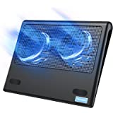 TeckNet Laptop Cooling Pad, Portable Ultra-Slim Quiet Laptop Notebook Cooler Cooling Pad Stand with 2 USB Powered Fans, Fits