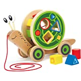 Hape E0349 Walk-A-Long Snail Toddler Wooden Pull Toy L: 11.9, W: 4.4, H: 7.3 inch