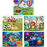 Puzzles for Kids Ages 3-8, Apfity 60 Pieces Wooden Jigsaw Puzzles Set Preschool Educational Learning Toys for 3 4 5 Years Old