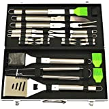 G & F 20-Piece Stainless-Steel BBQ Tool Kit, Strong, Sturdy, Heavy Duty Grilling Tool Kit in Portable Aluminium Carrying Case
