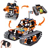 Remote Control Car and Robot Building Blocks, 3 in 1 RC Tracked Racer STEM Educational Learning Kit for Boys & Girls, 2.4Ghz