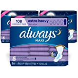 Always Always Maxi, Size 5, Extra Heavy Overnight Pads With Wings, Unscented, 108 Count, 108 Count