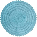 "DII 100% Cotton Crochet Round Luxury Spa Soft Bath Rug, for Bathroom, Vanity, and Dorm Room - 28"", Cameo Blue"