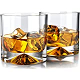 MOFADO Crystal Whiskey Glasses - Western/Square - 12oz (Set of 2) - Hand Blown Crystal - Thick Weighted Bottom Rocks Glasses