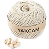 YAKCAM Macrame Rope, Large Ball 3mm x 300M (328yd) , 3 Strand Twisted 100% Natural Cotton Cord, Beige Cream Colour Complete w