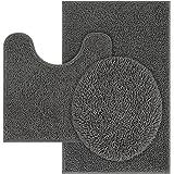 TREETONE Machine Washable Water Absorbent Bath Mat Bathroom Rugs Non Slip Soft Microfiber Mat, Chenille, Dark Gray, 3 pcs