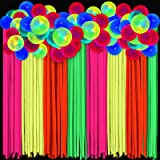 8 Rolls Glow Party Streamer Decorations Fluorescent Neon Paper Party Streamer and 30 Pieces Neon Glow Party Balloons Rainbow