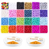 Beads for Bracelets, Anezus 7200 Pcs 4mm Pony Seed Beads Bracelet Beads Small Glass Rainbow Beads for Bracelet Jewelry Making