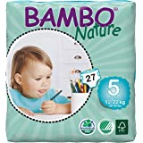 Bambo Nature Eco Friendly Baby Diapers Classic for Sensitive Skin, Size 5 (26-49 lbs), 27ct