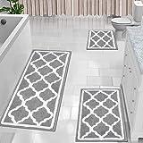 HEBE Bathroom Rugs Sets 3 Piece No Slip Shag Microfiber Shower Bath Rug Absorbent Bath Mat Set for Bathroom Tub and Shower Ma