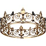 Royal King Crowns for Men, Full Round Mens Tiaras and Crowns Wedding Party Costume Hair Accessories