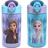 Zak Designs Disney Frozen 2 Kids Water Bottle Set with Reusable Straws and Built in Carrying Loops, Made of Plastic, Leak-Pro