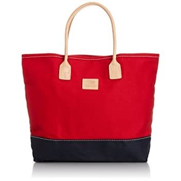 Heritage Leather Company Day Tote 7717: Red / Navy