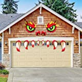 Halloween Monster Face Decorations Garage Mad Monster Face Archway Door Monster Face with Eyes Halloween Party Decoration wit