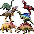 現実的な恐竜フィギュア玩具 - 6パック7インチ大型プラスチック製恐竜、T-rex、Stegosaurus、Monocloniusを含む、子供と幼児教育用
