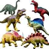 "OuMuaMua Realistic Dinosaur Figure Toys - 6 Pack 7"" Large Size Plastic Dinosaur Set Kids Toddler Education, Including T-rex,"