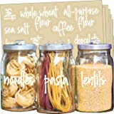 Talented Kitchen 157 White Script Pantry Labels – White Pantry Label Sticker Ingredients. Water Resistant, Food Jar Labels. J