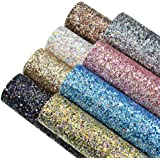8 Colors 8x12 Inch Faux Leather Chunky Glitter Fabric Sheets Canvas Back for Bows Earrings Ornaments Making, Each Color One S