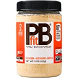 PBfit- All-Natural Peanut Butter Powder 15 oz, Peanut Butter Powder from Real Roasted Pressed Peanuts, Low in Fat High in Pro