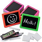 Bedwina Mini Chalkboard Set (Bulk of 24) Neon Chalk Boards, Includes, Board, Chalk, and Eraser, for Kids Prizes, Stocking Stu