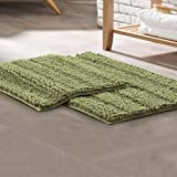 Amrapur Overseas 2-Pack Chenille Noodle Bath Mat with Non-Slip Backing, Sage 2 Count