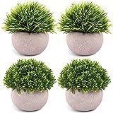 CEWOR 4 Pack Artificial Mini Plants Plastic Mini Plants Topiary Shrubs Fake Plants for Bathroom,House Decorations (Green)