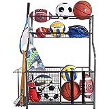 Mythinglogic Garage Storage System, Garage Organizer with Baskets and Hooks, Sports Equipment Organizer for Kids, Ball Rack,