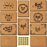 144 Bulk Thank You Cards with Self-Seal Envelopes, Brown Kraft Thank You Notes Box Set with Elegant 8 Designs Greeting Card f
