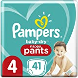 Pampers Baby-Dry Nappy Pants (9kg-15kg) Size 4 Toddler, 41 Count