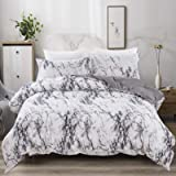 Marble Comforter Set King White Grey Marble Printed Bedding Down Alternative Comforter Set for All Season, Soft Hypoallergeni