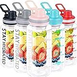 32oz Fruit Infuser Water Bottle, Large Motivational Water Bottle with Time Marker, Leak Proof Fruit Infused Water Bottles wit