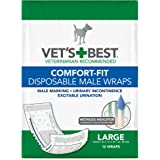 Vet's Best Comfort Fit Disposable Male Dog Diapers | Absorbent Male Wraps with Leak Proof Fit | Large, 12 Count