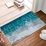 HomeCreator 23.6 x 15.7 Inch Welcome Ocean Beach Theme Door Mats Kitchen Floor Bath Entrance Rug Mat Absorbent Indoor Bathroo