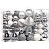 XmasExp 100-Pcs Christmas Ball Ornaments Assorted Shatterproof Christmas Ball Set with Reusable Hand-held Gift Package for Xm