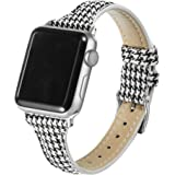 Secbolt Slim Woven Bands Compatible with Apple Watch Band 38mm 40mm, Classy Canvas Strap with Soft Leather Lining for iWatch
