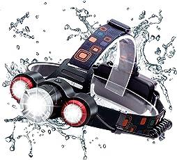 Wsiiroon LED ヘッドライト USB充電 乾電池両用 ヘッドランプ 高輝度 軽量 ズーム機能付き 角度調整可能 登山 夜釣り アウトドア作業に最適(乾電池付き)