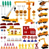 Liberty Imports Engineering Construction Site Pretend Play Toy Set in Bucket - Variety Pack with Diecast Cars, Trucks, Equipm