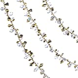 Klikel Christmas Clear Iridescent and Gold Bead Garland, Large Twist Bead String for Christmas Tree 10-feet - Set of 2 Pieces
