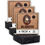 Dr. Squatch Pine Tar Soap 3-Pack Bundle – Mens Bar with Natural Woodsy Scent and Skin Exfoliating Scrub – Handmade with Pine,