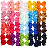 40 Pieces 4.5 Inch Hair Bows Clips Grosgrain Ribbon Boutique Hair Bow Alligator Clips For Girls Teens Toddlers Kids (20 Color