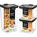 Sistema 82008 Tritan Airtight Pantry & Kitchen Storage Containers | 3 Square Plastic Food Containers with Lids (1x 1.3L + 2X
