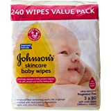 Johnson's Baby Johnson's Baby Wipes Skincare Frarance Free, 240 Wipes (3 Pack x 80), 240 count