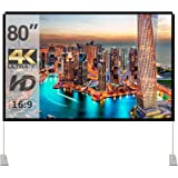 Projector Screen with Stand 80 inch Portable Projection Screen 16:9 4K HD Rear Front Projections Movies Screen with Carry Bag