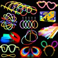 Glowstick, (600 Pcs Total) 250 Glow Sticks Bulk 7 Colour and Connectors for Bracelets Necklaces Balls Eyeglasses and More, Fu