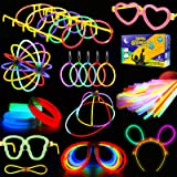 Glowstick, (600 Pcs Total) 250 Glow Sticks Bulk 7 Colour and Connectors for Bracelets Necklaces Balls Eyeglasses and More, Fu