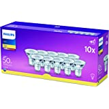 Philips LED GU10 Light Bulbs, 4.6 W (50 W) - Warm White, Pack of 10