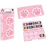IINE Game Card Case for Nintendo Switch Pink,Game Card Storage Box with 2 Micro SD Card Slot